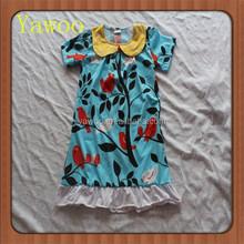 2015children baby dress for girls of 7 year old bird and tree pattern summer wear yawoo brand collar short sleeve ruffle dresses