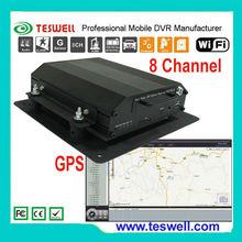 Potente 8 canales DVR independiente de gestión de la flota móvil con 3G, GPS, wifi, RS232/485, RJ45, G-shock, detección de movim