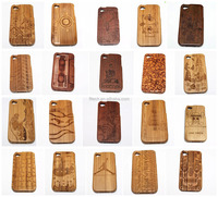 wood carving case for iphone 6 Carved Wood Mobile phone wholesale wood mobile phone case for iphone 4