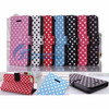 Leather Phone Case Flip Stand Polka Dot PU Leather Book Case Cover for Iphone5C