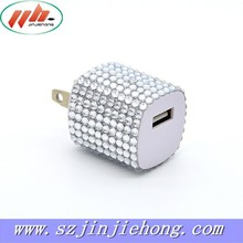 Bling decoration 5V1000mA travel USB charger