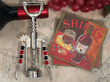 Art Deco Red Wine Design Coaster and Bottle Opener Set