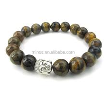 India Fashion Tiger Eye Gemstone Mens Womens Bracelet, Energy Bead Buddha Mala Bracelet for Wholesale