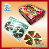 Big gummy pizza candy with fork