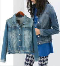 EY0677A 2015-2016 women punk zipper denim coat blazer jacket stylish biker zip up