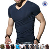wholesale slim fit t shirt for men in China plain v neck slim fit t shirt for men