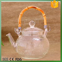 600ml bamboo handle heatable glass teapot