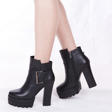 leather ladies boots black high-heeled boots
