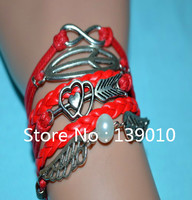 2015 European American Pop Leather Group Infinity Fish Angel Wing Pearl Heart Arrow Charm Bracelets & Bangles For Women Jewelry