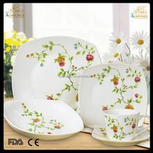 20pcs white body or decal square new bone china dinnerware