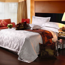 2015 hotel 4 pieces bedding set jacquard logo