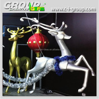 Fiberglass Large Silver Color Reindeer for Shopping Mall Christmas
