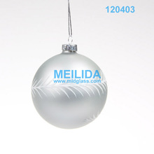 Silvery painted wholesale clear glass christmas ball ornaments