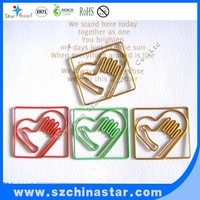 Different shapes metal wire paper clips of assorted color and shapes