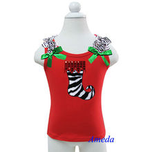 Christmas Special - Kids Girls Red Sleeveless Top with Zebra Socks 1-7 Years Old