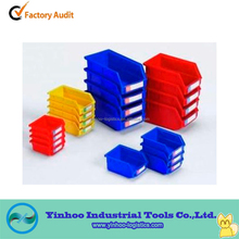 mixed sized easy handling stackable plastic storage bins for secure storage of small parts