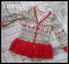yawoo wholesale cotton knitted tee shirts fair isle led christmas shirt reindeer girls ruffle cardigan fashion boutique t shirts