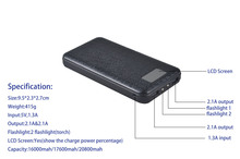 20,000mAh rechargeable capacity Power Bank / Portable Charger for Smartphones & Tablets // Android & Apple Compatible