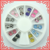 KQH68 12pcs wheels Acrylic Bow tie Nail Beauty Supplies Stickers For acrylic mold for nail art Wheels