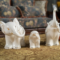 the most durable lucky Folk Art three porcelain elephant family