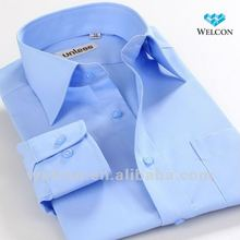 long sleeve Italian style latest fashion design business dress wear organic cotton blue men formal shirt