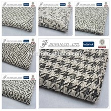 Jiufan Textile 2015 New Style CVC Cotton Polyester Blend Chunky Knit Hacci Black/White Jacquard Knitted Fabric for Apparel