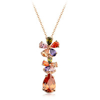 Hot sell beautiful clover with waterdrop pendabt custom multicolor zircon weddig necklace