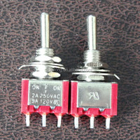 MTS-123R Red Momentary (ON)-OFF-(ON) Toggle switch 5A 125VAC 2A 250VAC