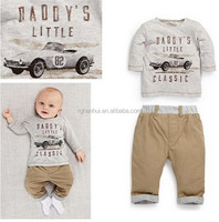 Baby 2 pcs long-sleeved suit Free shipping 2015 newest spring/autumn baby boy sets figure printing European and American cars