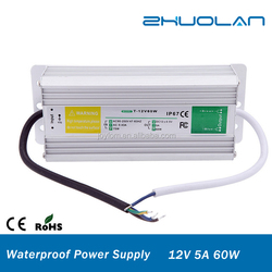 China Hot-sell IP67 60W Waterproof Model Power Supply 12V 5A waterproof Led Driver