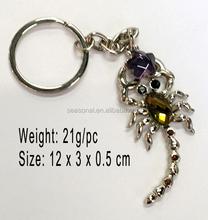 Wholesale men gift Rhinestone 3D scorpion Keychain Car key chain Charms pendant Keyring Chaveiro fashion jewelry present