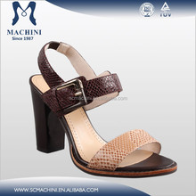 Factory directly middle heel leather lady fashion sandals