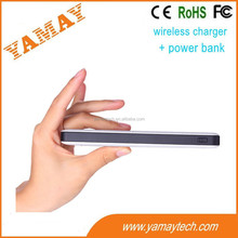2015 gift and new product China factory supply slim design 72% high efficiency QI wireless chargers power bank 8000mah