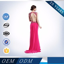 china supplier sexy backless red long prom dresses