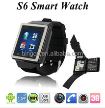 "Smart Watch Android Bluetooth Watch S6 Wristwatch Cell Phone MTK6572 Dual Core 1.54"" 2MP 3G WCDMA GPS WIFI SIM Card"