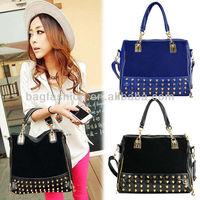 2013 Handbags fashion shoulder bags handbag women tote bag Rivet Studded Package Stitching Flannel Bag