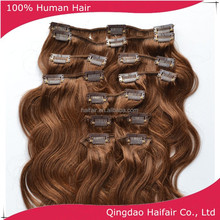 18 inch brown color clip in hair extension, 11 pcs 100g per set European hair clip on hair extension