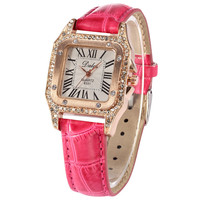 Bling Crystal Lady Women Quartz Orchid Red Leather Band Dress Wrist Watch