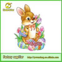 fashion Easter rabbit decoration, Easter rabbit craft, easter sticker, glitter window decoration happy rabbit sticker