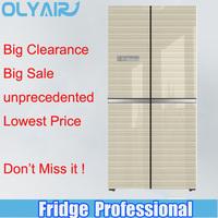 BCD-389 golden color side by side four door refrigerator