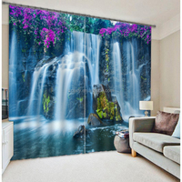 New arrival 3d photo digital Printing home curtain 100% polyester blackout curtain for home, office, cafe etc