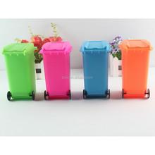 Plastic Mini Trashcan shape brush holder pensile holder