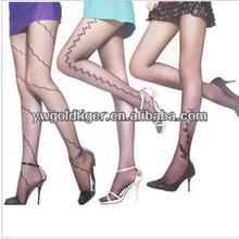 High Quality Sheer Pantyhose Wild Open Fashion Model Stay Up Milk Silk Custom Print Line Rose Tattoo Women Tights