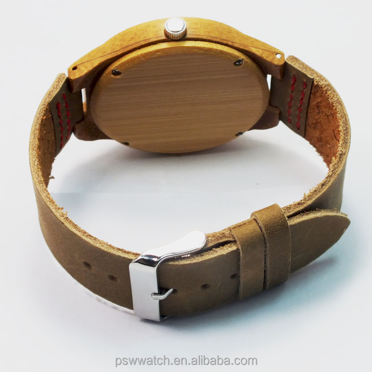 Bamboo wood Watches bamboo watch Bamboo wrist watch 2015 Men with Date Genuine Leather Strap