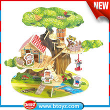 toys 2015 kid toy Wooden outdoor wooden tree house with monkey