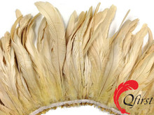 Wholesale rooster feather bleached ivory coque tails strung for party decorations