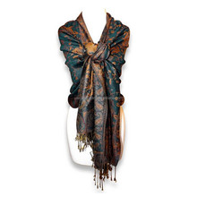 Reversible Paisley Pashmina Shawl Wrap in Elegant Colors
