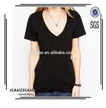 2015 nueva moda Slim Fit cuello en V profundo manga corta mujer T-Shirt