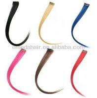 Colorful highlight synthetic hair clip in streaks single strip clip hair extension synthetic hair streaks