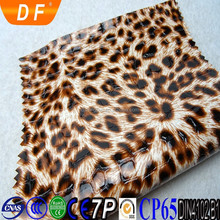 Hot sale mirror surface leopard pattern synthetic pvc leather for bags handbags